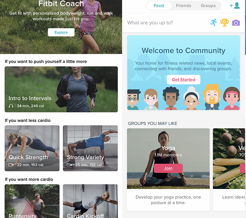 Fitbit app's Guidance (left) and Community (right) features