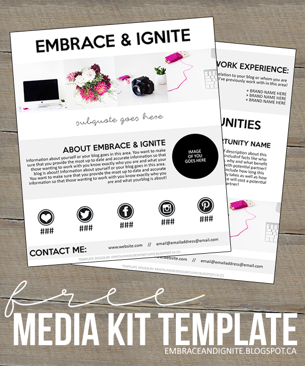 Embrace and ignite freebie friday media kit template for Online media kit template