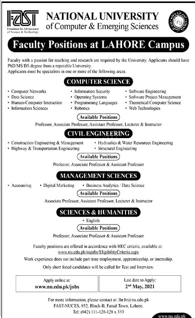 Latest Govt Jobs at National University of Computer & Emerging Sciences Lahore Campus Jobs 2021