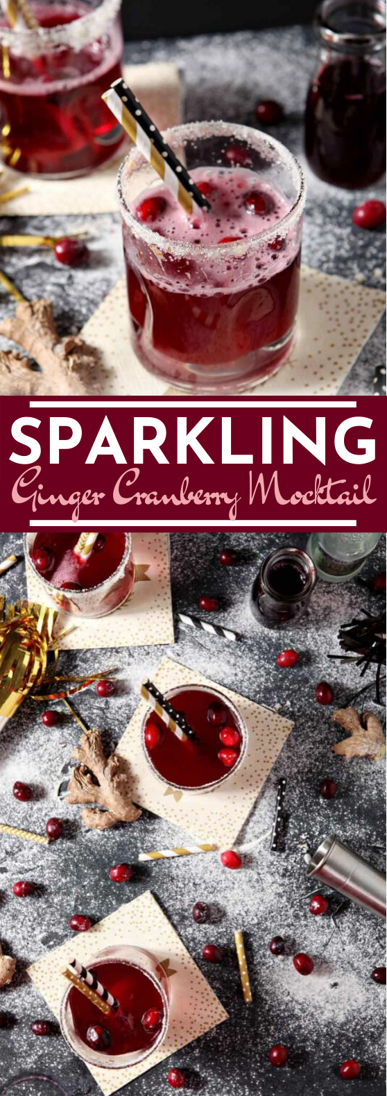 Sparkling Ginger Cranberry Mocktail #drinks #nonalcohol #kidfriendly #christmas #punch