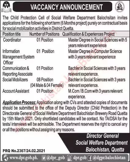 Latest Jobs in Pakistan Social Welfare Department Balochistan Jobs 2021