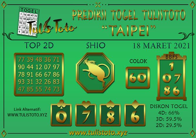 Prediksi Togel TAIPEI TULISTOTO 18 MARET 2021