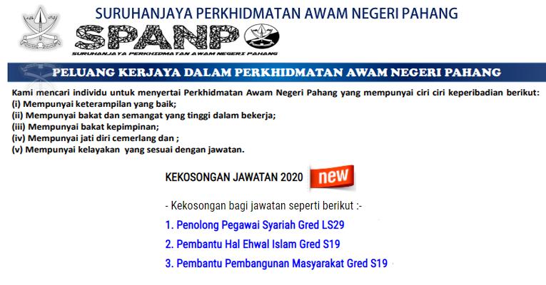 Kekosongan Terkini Di Suruhanjaya Perkhidmatan Awam Negeri Pahang Spanp Jobkini Com Jawatan Kosong Swasta Glc Dan Kerajaan Terkini