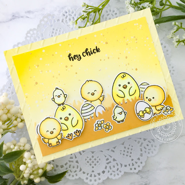 Sunny Studio Stamps: Eggs To Dye For Chickie Baby Slimline Dies Friendship Card by Ashley Ebben