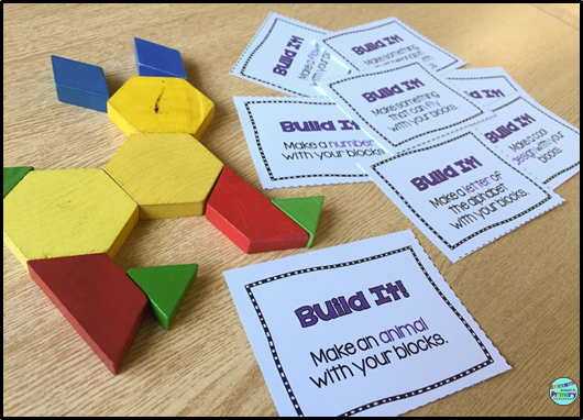 2D geometry centers with pattern blocks for first grade