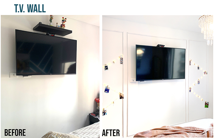 wall frames around tv