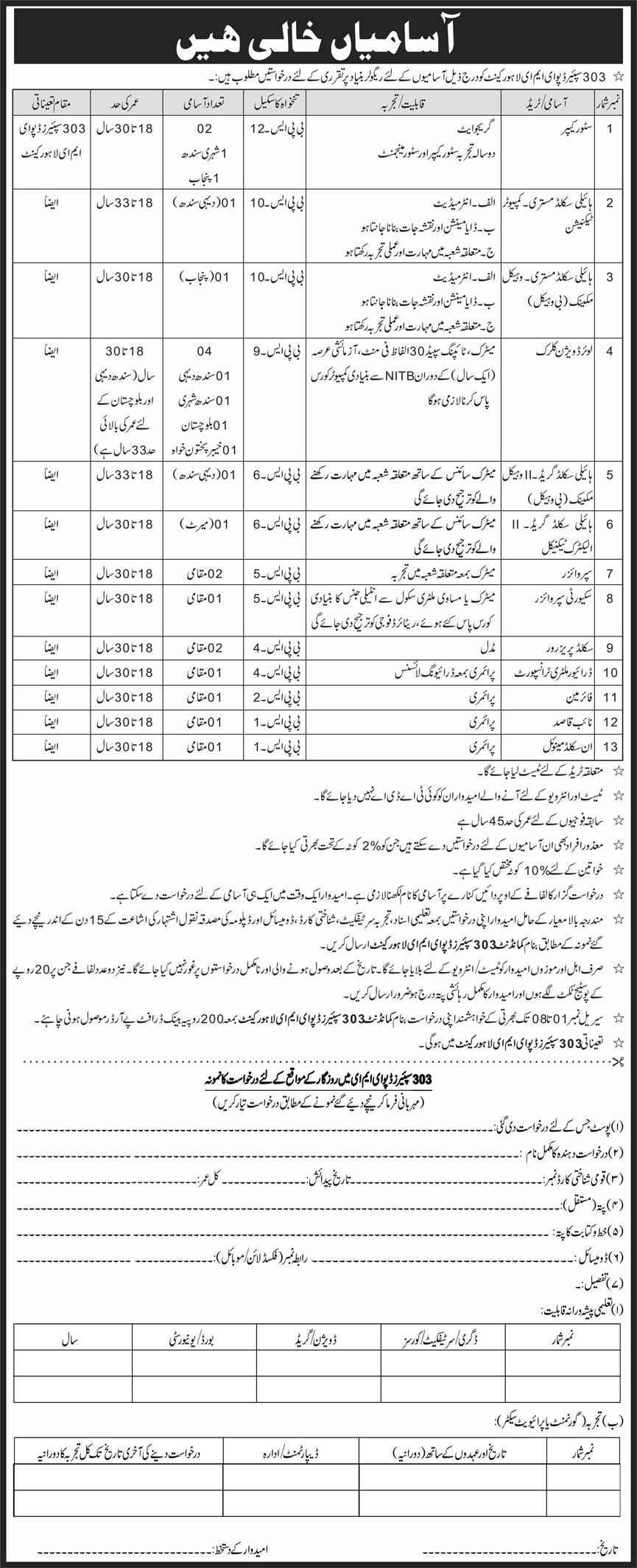 Pakistan Army 303 Spares Depot EME Cantt Jobs 2020 | Multiple Jobs Sindh