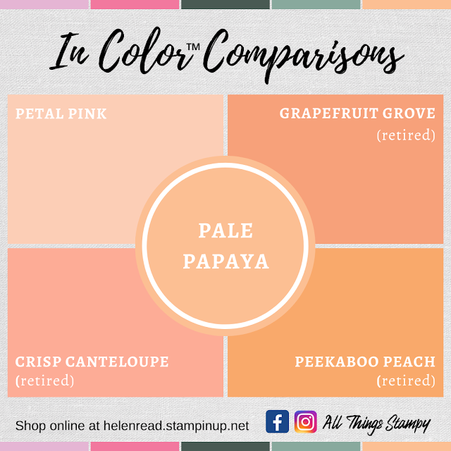 Stampin Up In Colors 2021 colour comparisons Pale Papaya
