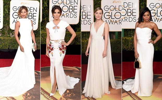 Laverne Cox, Eva Longoria, Saoirse Ronan e Taraji P. Henson apostaram no branco para o Globo de Ouro 2016 (Foto: AFP)