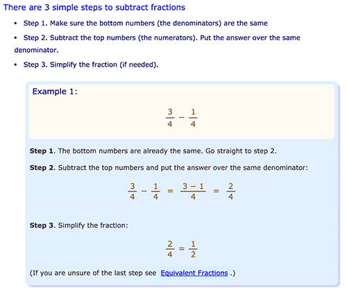 How to substract fractions - Maths is fun