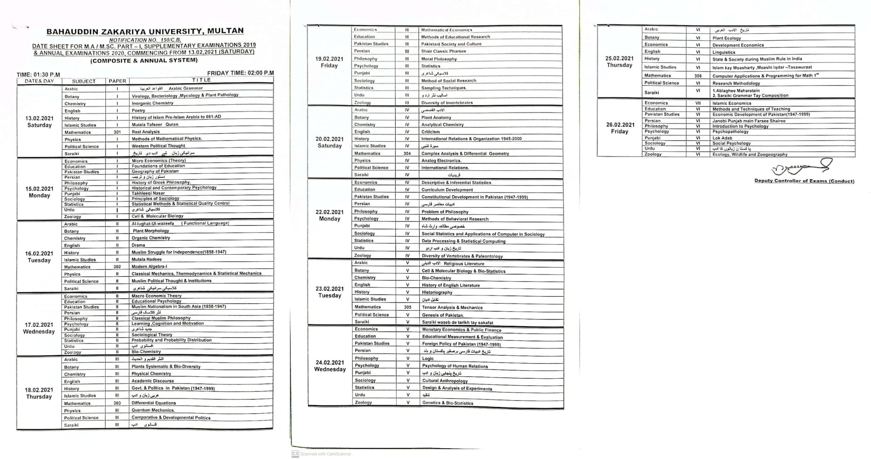 Date Sheet MA MSc Part 1 Supply Annual BZU Multan