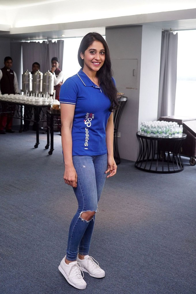 Beautiful Telugu Girl Regina Cassandra Long Hair In Blue T shirt Jeans