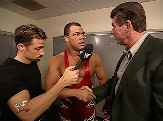 WWE / WWF No Mercy 2001 - Vince McMahon wishes Kurt Angle luck