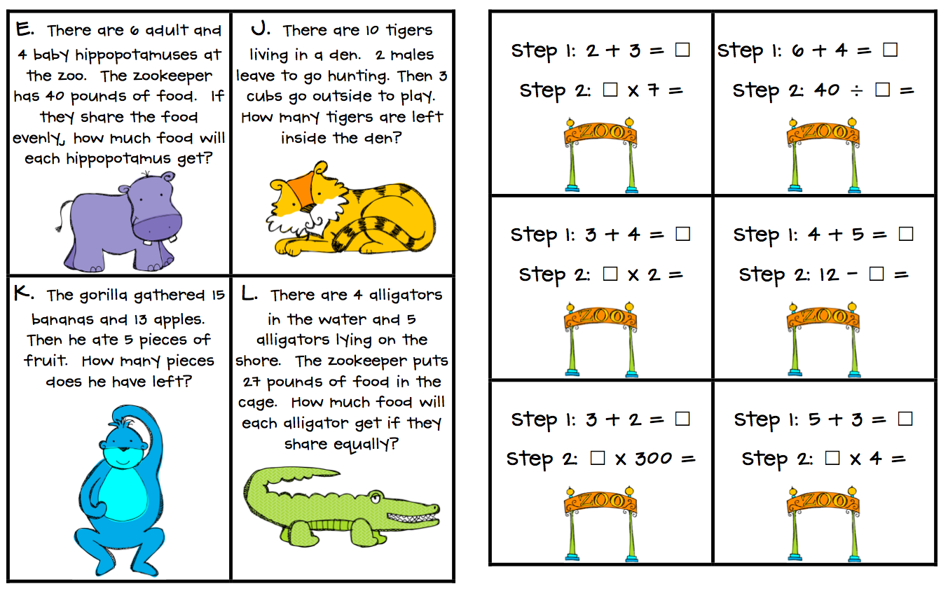 Two Step Addition And Subtraction Word Problems Worksheets