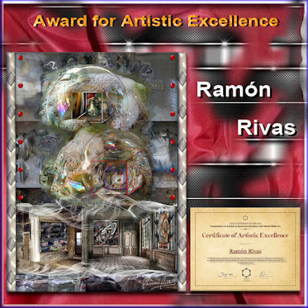 """La obra """"Art Station"""" de Ramón Rivas, junto al Certificado del  """"Premio de Excelencia Artística"""""""