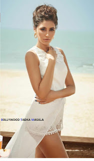 Nargis Fakhri Deep Neck Short white Dresswith plunging Neckline Pics for Femina Magazine April 2016 WOW