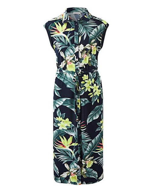Women's fashion trends - navy blue shirt dress with tropical print
