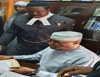 Atiku Arrives Court, Signs Deposition In Suit Against Buhari Aide, Lauretta (Photo)