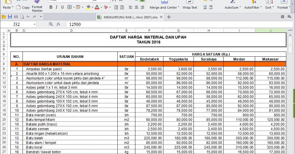 Software RAB Excel Untuk Menghitung Anggaran Biaya Bangun