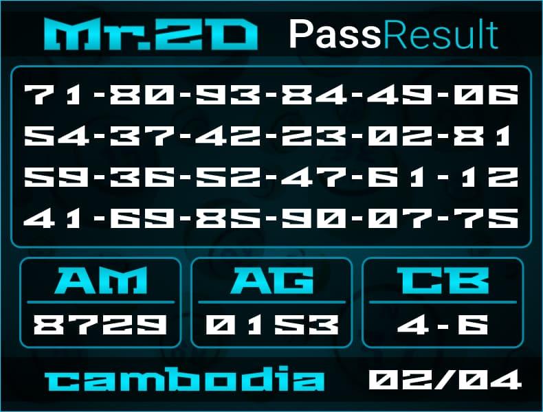 Prediksi Mr.2D   PassResult - Selasa, 2 April 2021 - Prediksi Togel Cambodia
