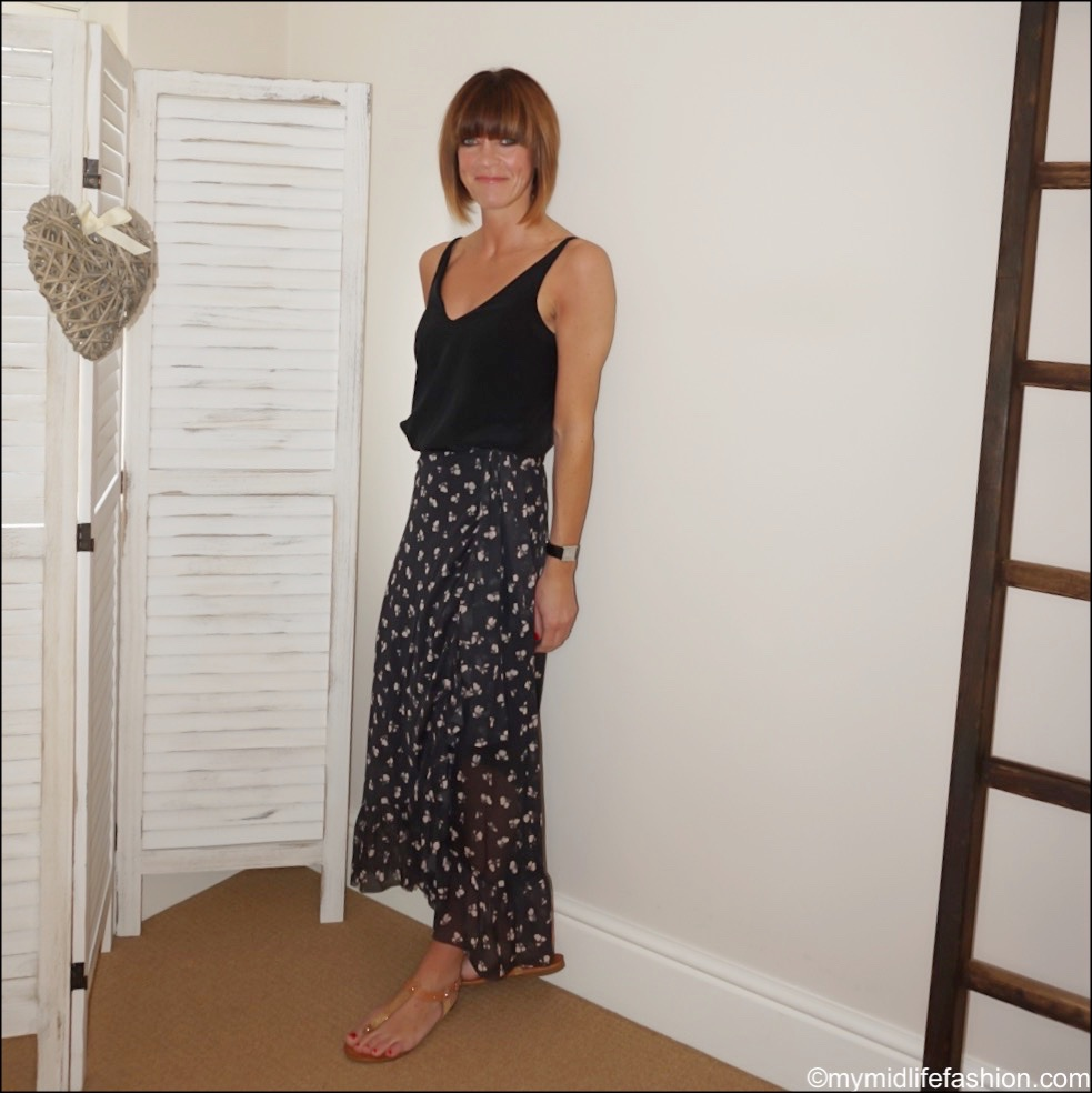 my midlife fashion, tibi silk camisole, ganni mesh frill wrap skirt, carvela koncert sandals