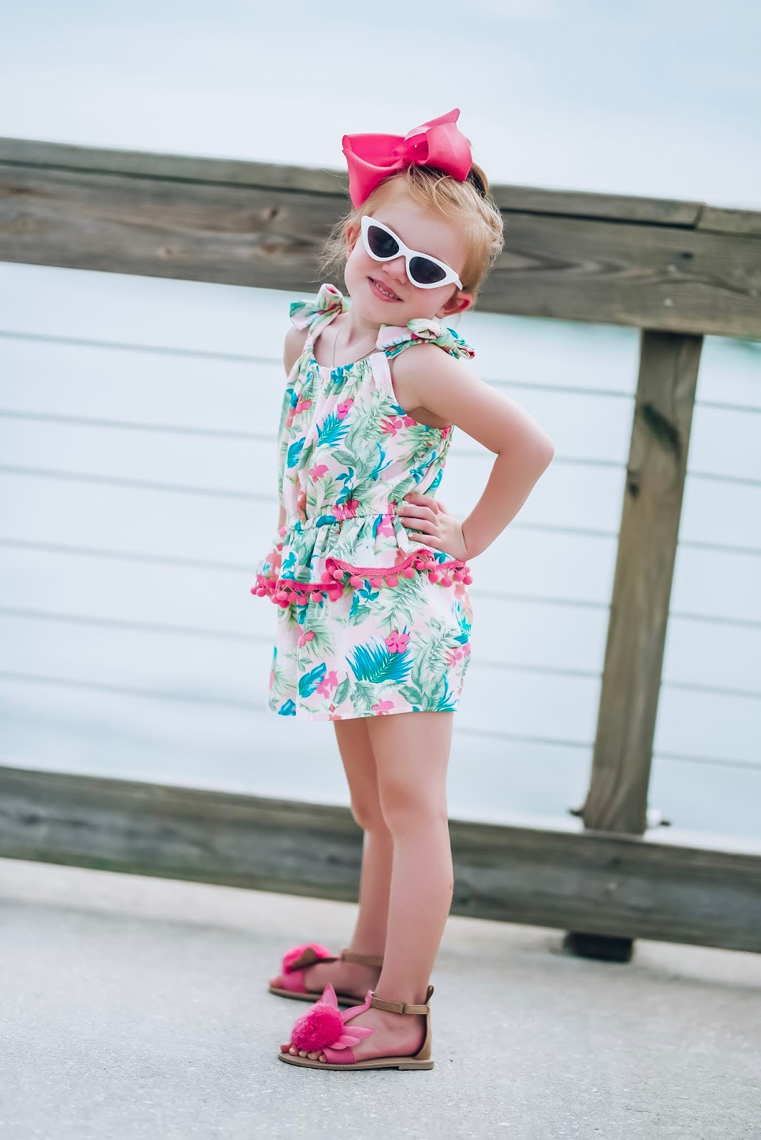 Pom Pom Romper + Pom Pom Flamingo Sandals for Girls - Something Delightful Blog