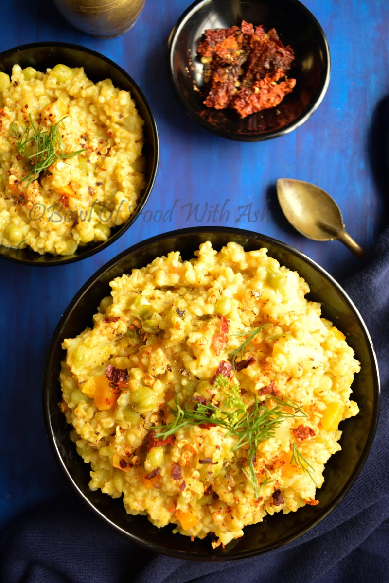 Vegetable Dalia Recipe   How to Make One Pot Meal Broken Wheat Porridge / Vegetable Dalia