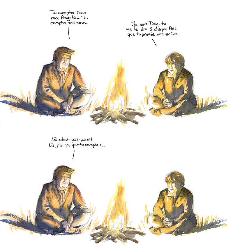 Trump et Merkel coin du feu