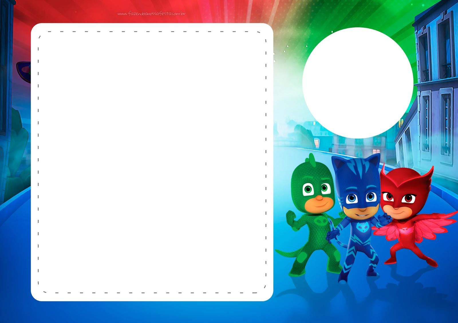 pj masks free printable invitations