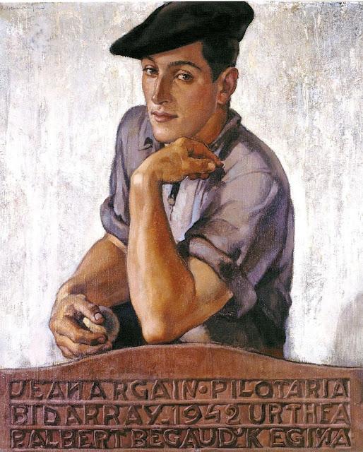 Pierre-Albert Bégaud (1901-1956) El Pelotari Jean Argain Huile sur toile, 73 x60 cm Collection privée.