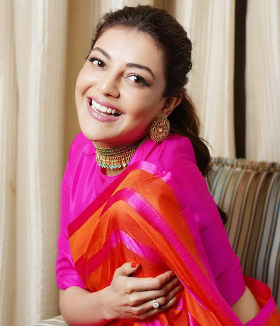 Kajal Aggarwal HD Wallpaper In Red Saree