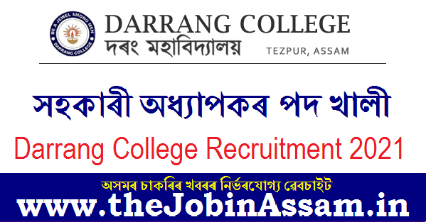 Darrang College Recruitment 2021: Apply For 04 Assistant Professor Posts