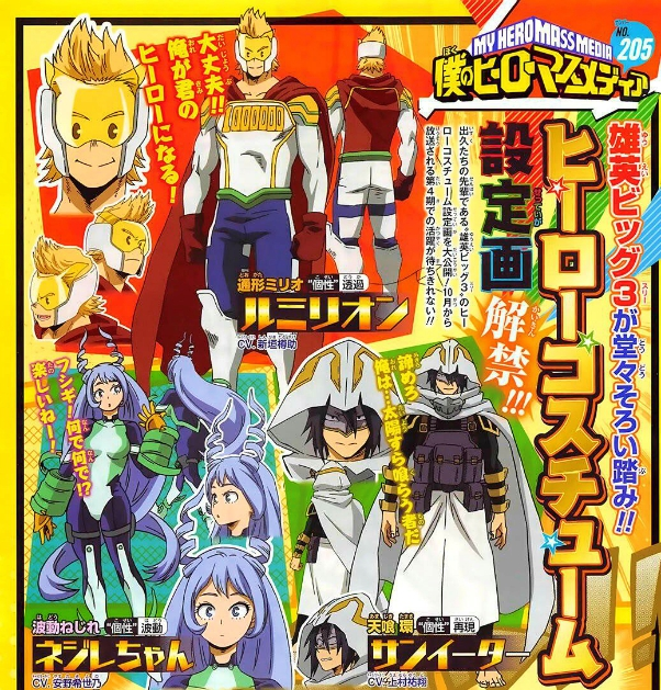 My Hero Academia character designs for the BIG 3