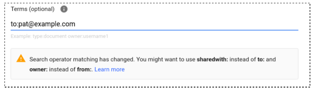 Changes to Google Drive search operators may alter Google Vault search results 1