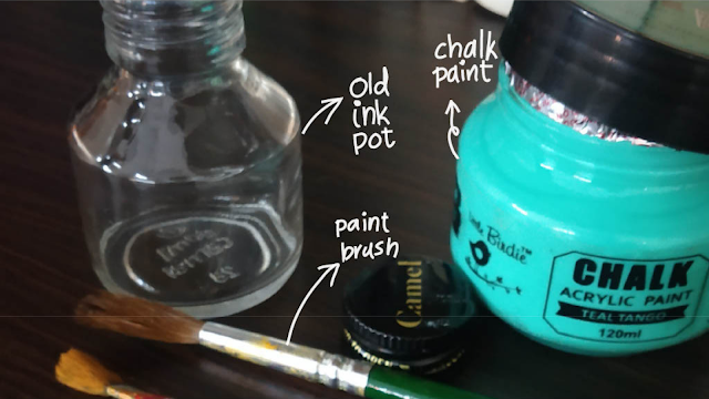 Materials needed to upcycle an ink pot