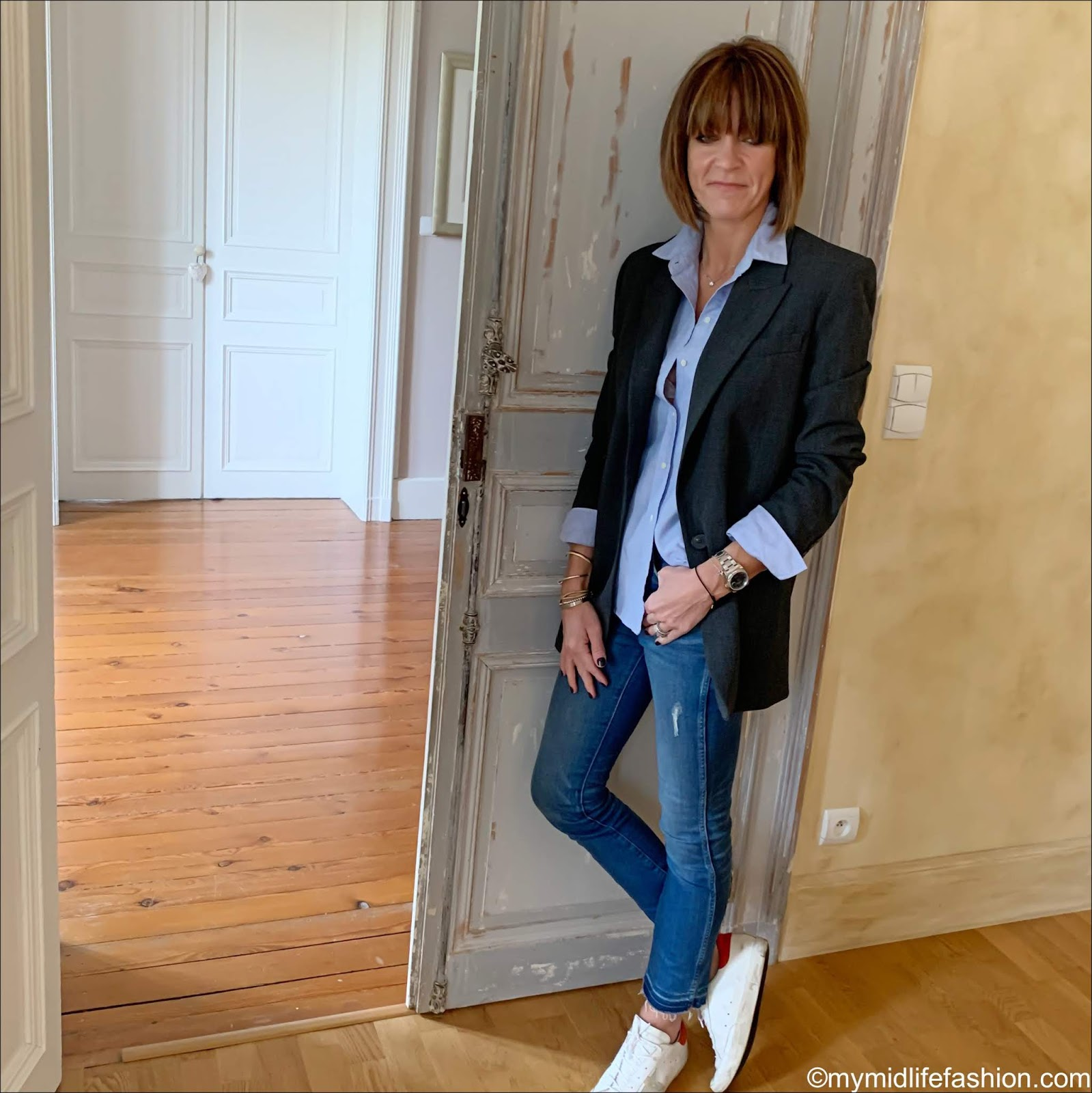 my midlife fashion, Zara oversized blazer, sezane tomboy shirt, j crew jeans, golden goose superstar low top leather trainers