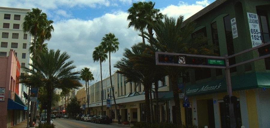 Calles del centro de West Palm Beach