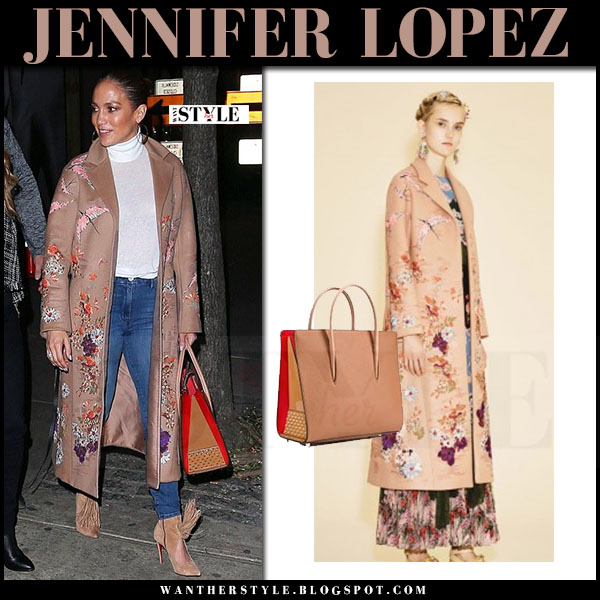 Jennifer Lopez in camel floral embroidered valentino coat and suede boots what she wore streetstyle