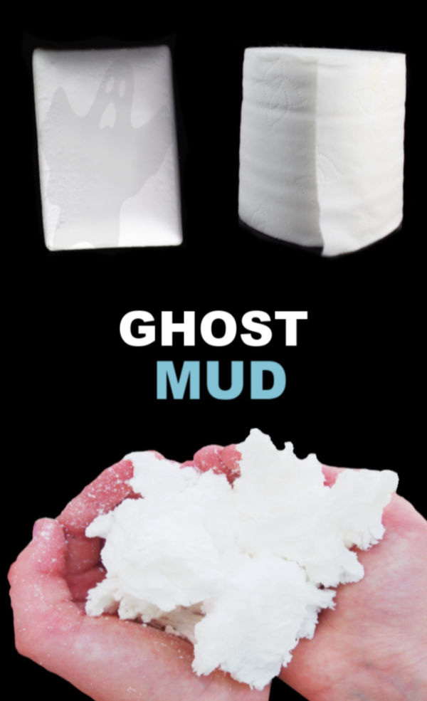 Take a break from traditional play dough and  make ghost mud instead!  It's icy-cold, and oh-so-fun! #ghost #ghostmud #ghostmudrecipe #ghostartprojectsforkids #ghostcraftsforkids #ghostrecipes #ghostplaydough #halloweenactivities #halloween #halloweenartsandcraftsforkids #growingajeweledrose #activitiesforkids