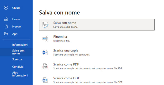 salvare il documento di Word online