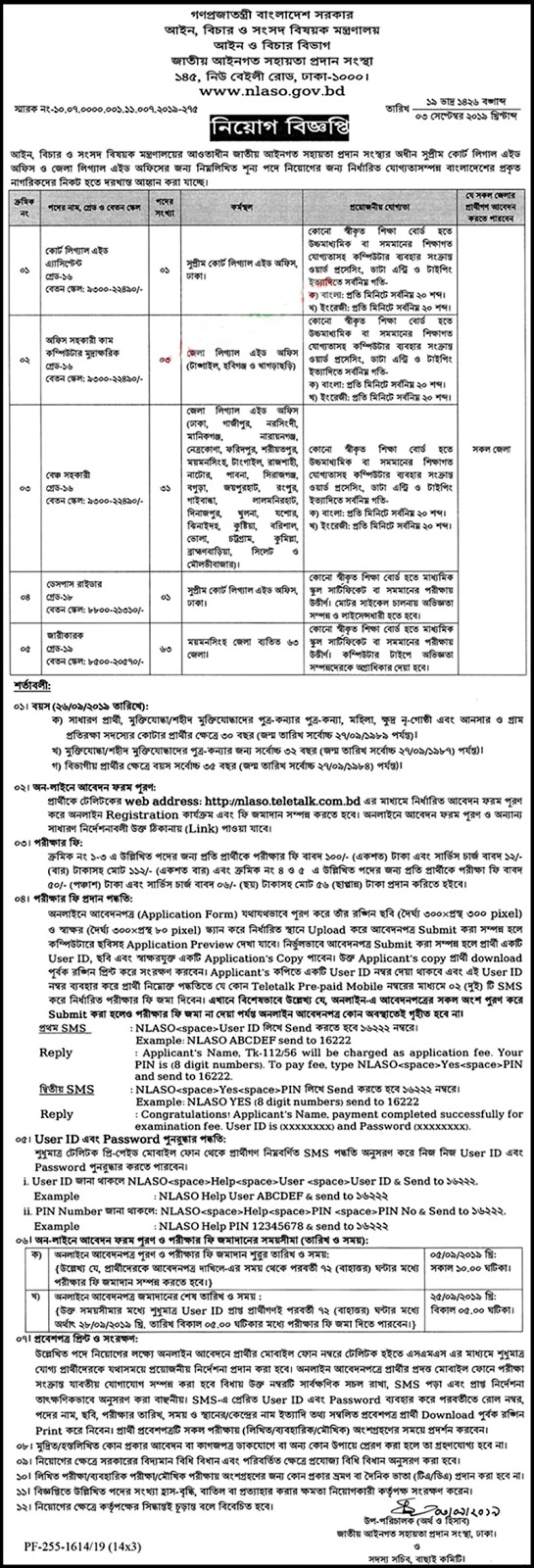 National Legal Aid Services Organization (NLASO) Job Circular 2019