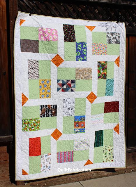 print and plain fabrics make socially distanced quilt blocks