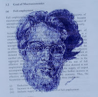 recycled ballpoint pen sketch of a head