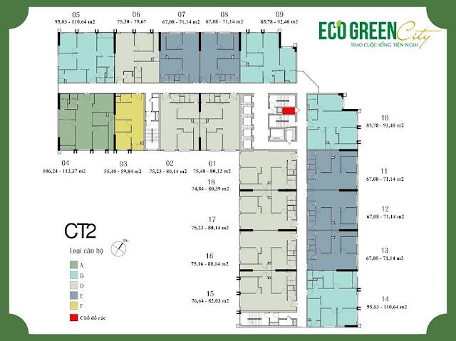 Mặt bằng tổng thể toà CT2 Eco green city