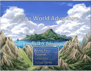 Tampilan title screen game edukasi physics world adventure