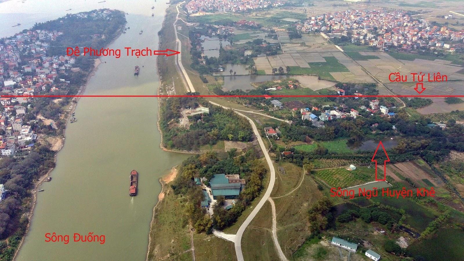 Cầu chạy song song với sông Ngũ Huyện Khê cắt ngang qua sông Đuống và sông Hồng.