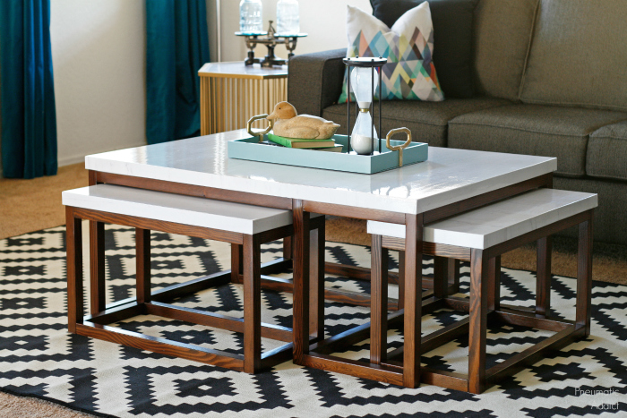 Pneumatic addict three way nesting coffee tables for Modern nesting coffee tables
