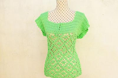 3 - Crochet IMAGEN Blusa verde a crochet y ganchillo muy fácil y sencilla. MAJOVEL CROCHET