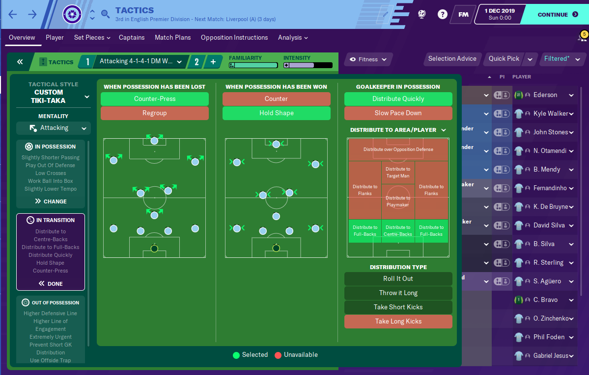 Man City tactic - 4-3-3 - Tiki Taka - Team Instructions FM20