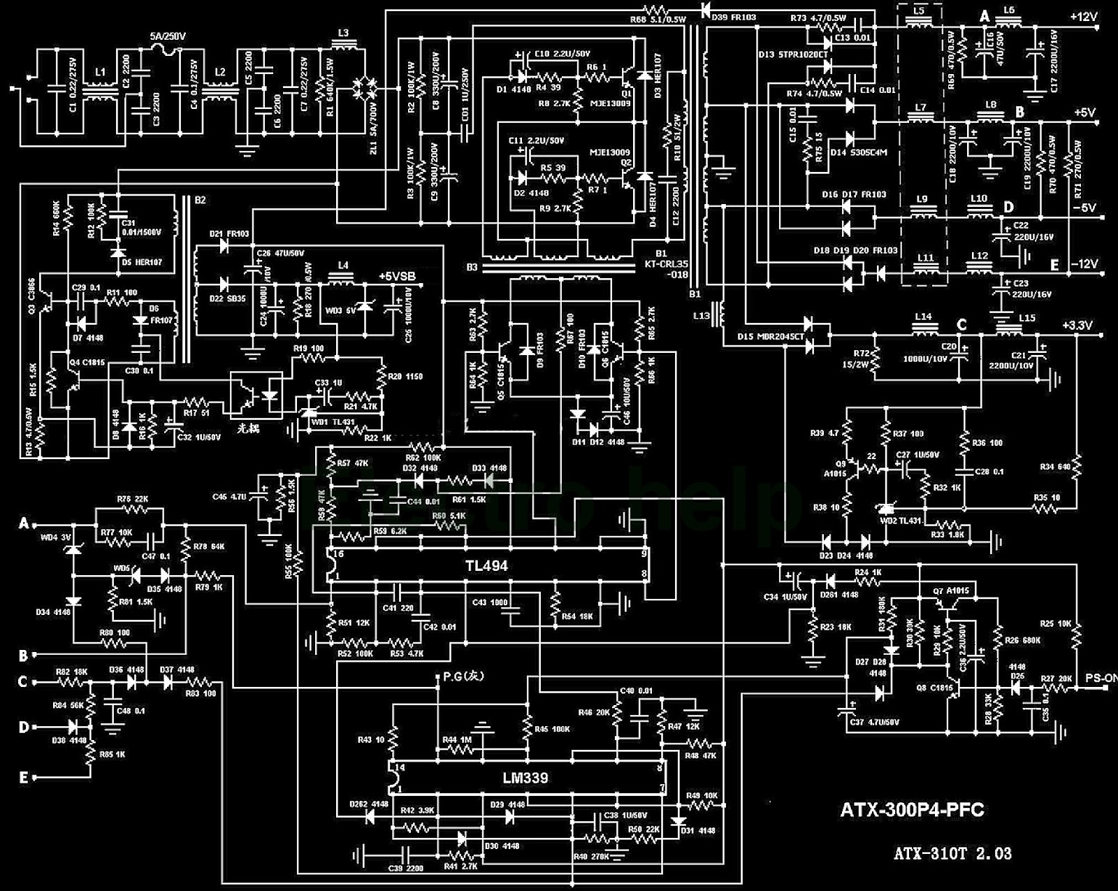 pc power supply wiring diagram communication powerpoint atx desktop computers atx300p4
